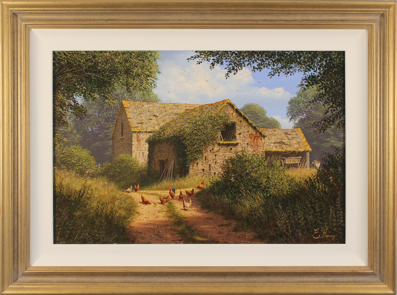 Edward Hersey, Original oil painting on canvas, Cotswolds Farm. Click to enlarge