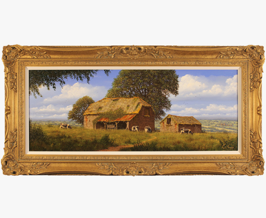 Edward Hersey, Hillside Farm, North Yorkshire, Original oil painting on canvas