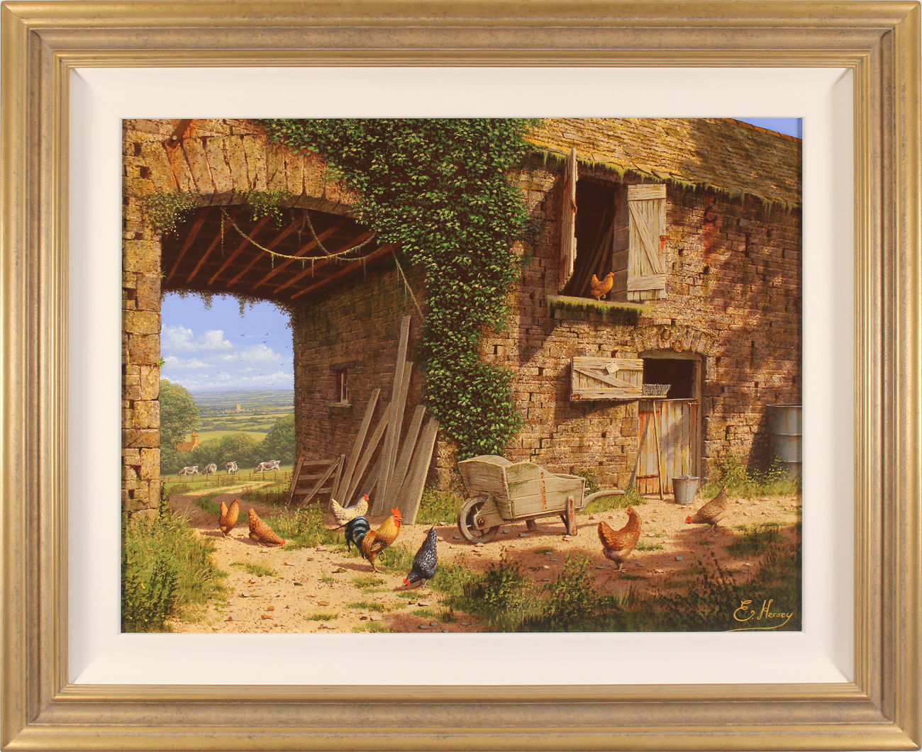 Edward Hersey, Original oil painting on canvas, Farmyard Bustle, North Yorkshire. Click to enlarge