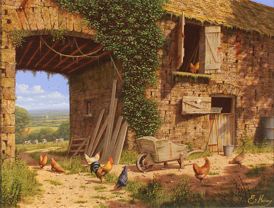 Edward Hersey, Original oil painting on canvas, Farmyard Bustle, North Yorkshire
