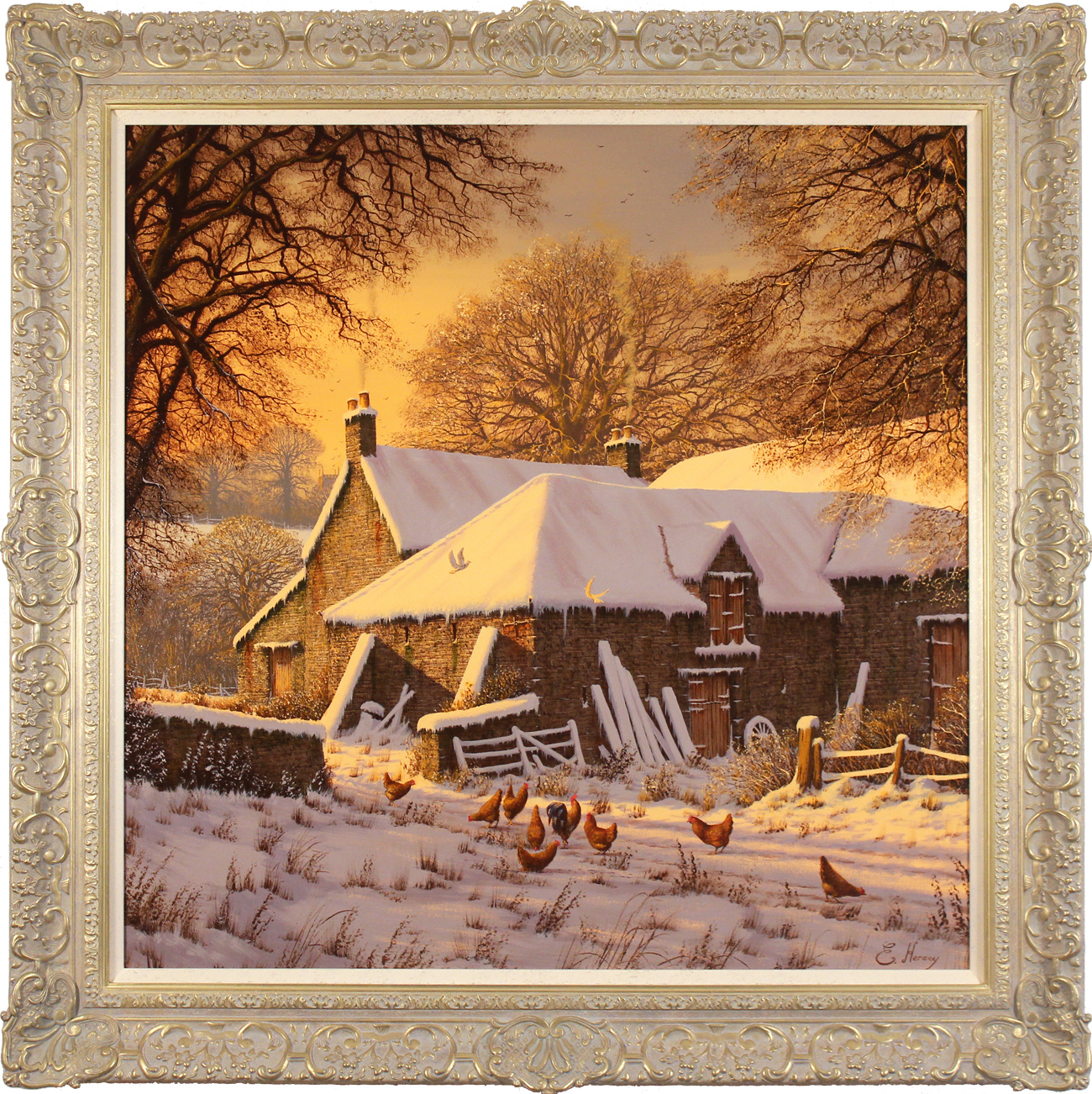 Edward Hersey, Original oil painting on canvas, Winter Warmth, click to enlarge