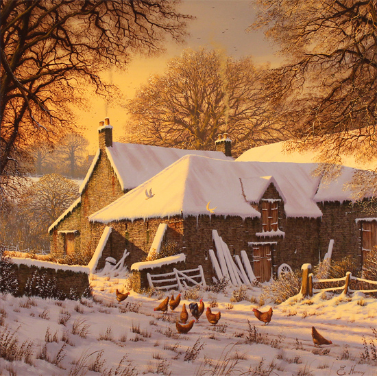 Edward Hersey, Original oil painting on canvas, Winter Warmth