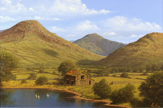 Edward Hersey, Original oil painting on canvas, Cumbrian Majesty, Loweswater, The Lake District
