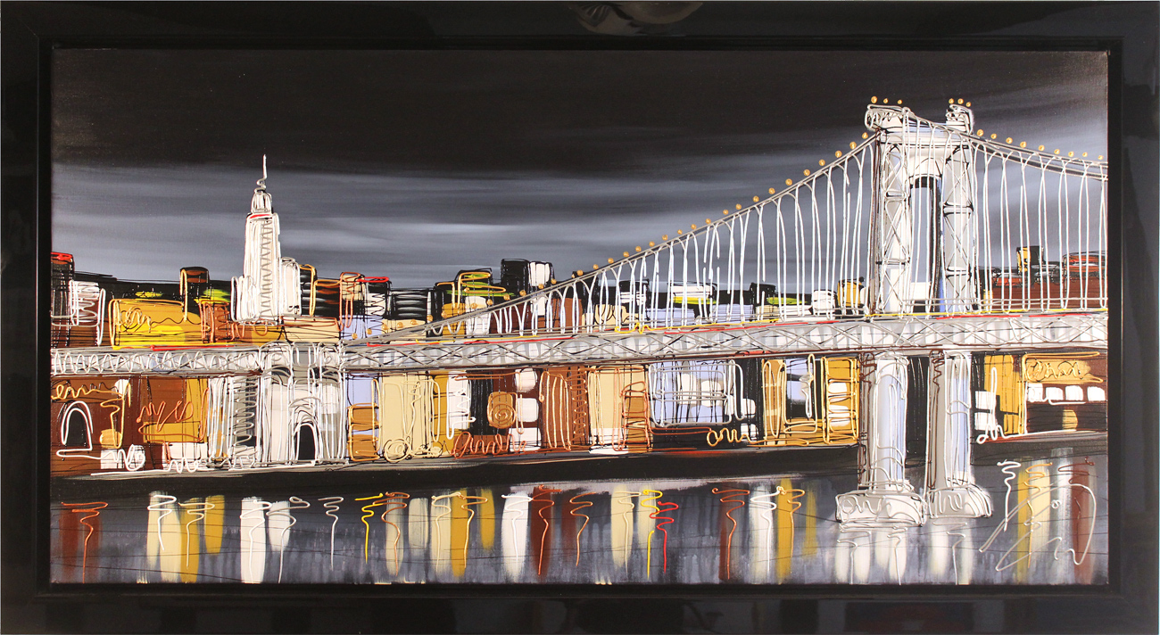 Edward Waite, Original acrylic painting on canvas, Manhattan Skyline. Click to enlarge