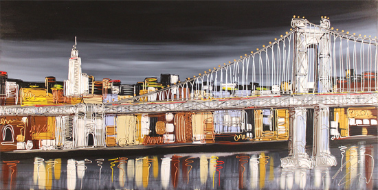 Edward Waite, Original acrylic painting on canvas, Manhattan Skyline Without frame image. Click to enlarge