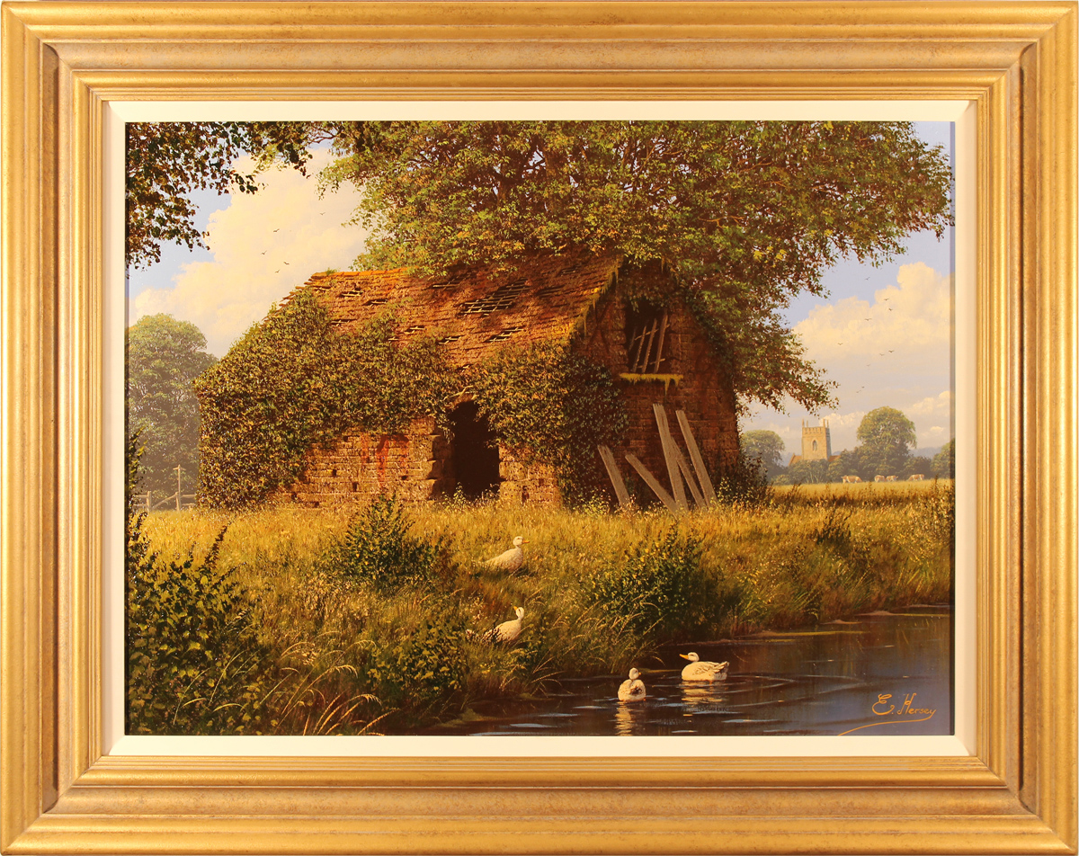 Edward Hersey, Original oil painting on canvas, Cotswolds Barn, click to enlarge