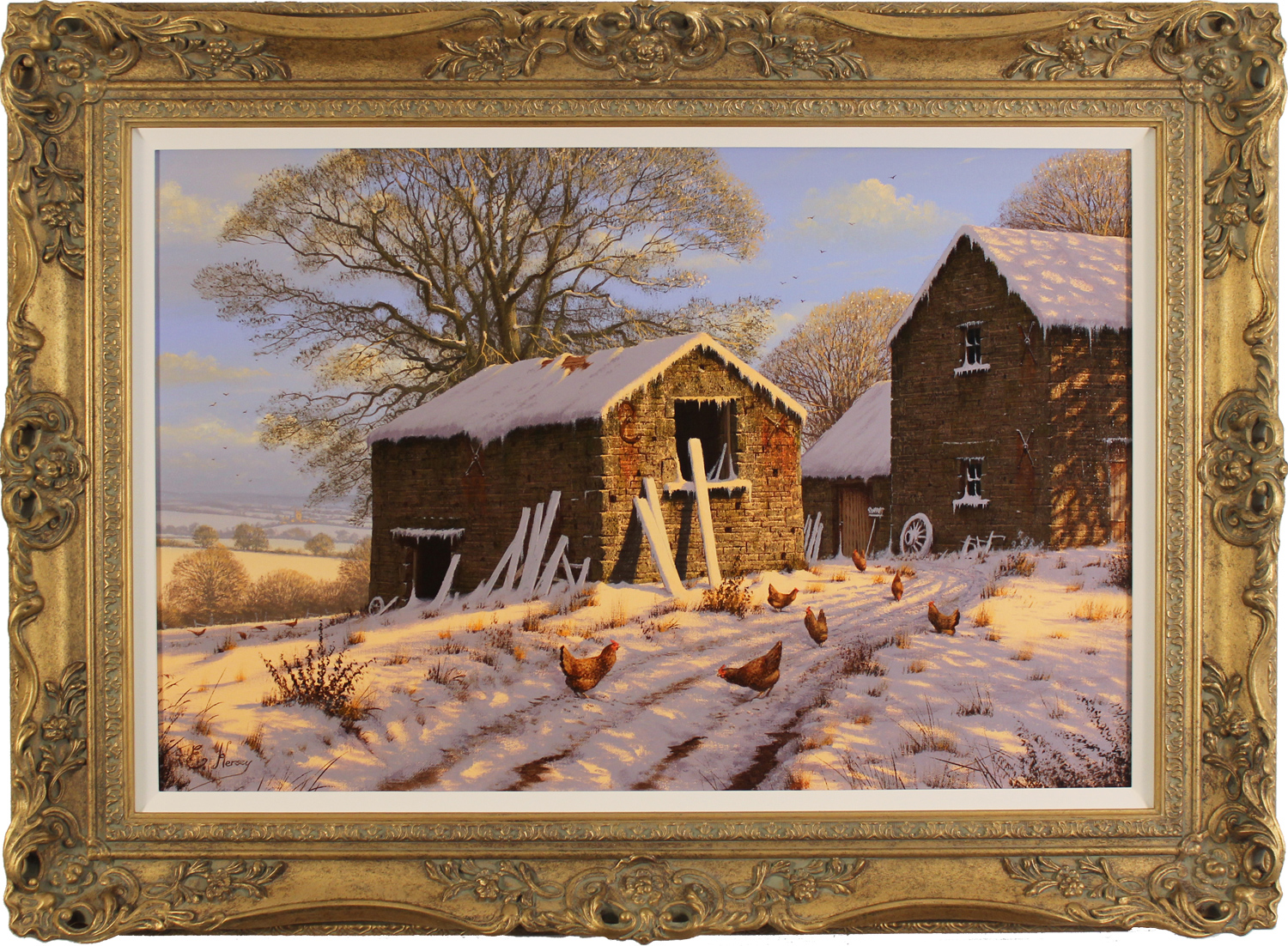 Edward Hersey, Original oil painting on canvas, Cotswolds Snow Scene, click to enlarge