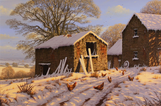 Edward Hersey, Original oil painting on canvas, Cotswolds Snow Scene