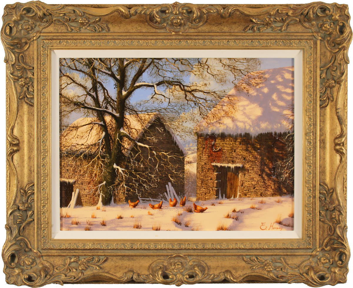 Edward Hersey, Original oil painting on canvas, Snow Scene. Click to enlarge