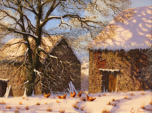 Edward Hersey, Original oil painting on canvas, Snow Scene Without frame image. Click to enlarge