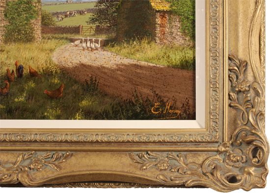 Edward Hersey, Original oil painting on canvas, Cotswolds Farm Signature image. Click to enlarge