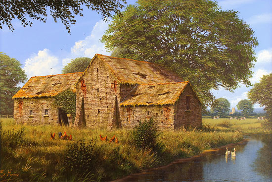 Edward Hersey, Original oil painting on canvas, Cotswolds Barn and Stream. Click to enlarge