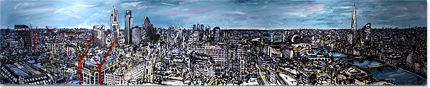Ewen Macaulay, Original acrylic painting on canvas, London Panoramic Without frame image. Click to enlarge