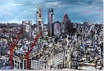 Ewen Macaulay, Original acrylic painting on canvas, London Panoramic