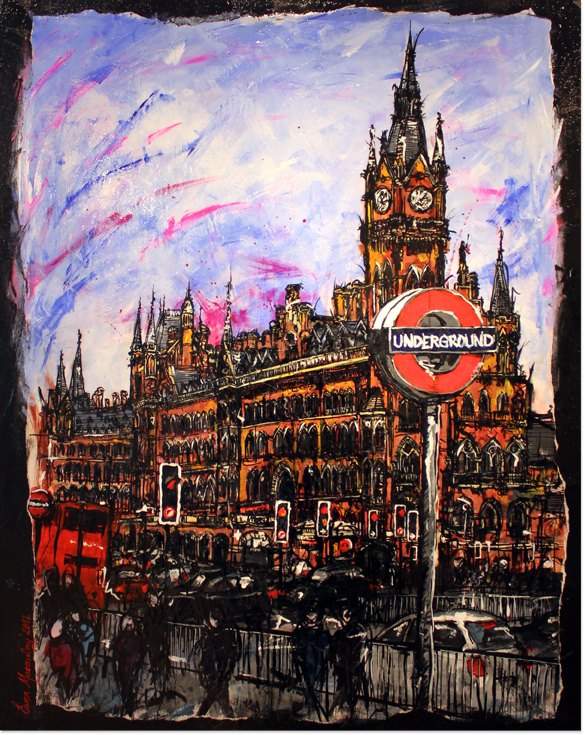 Ewen Macaulay, Original acrylic painting on canvas, St Pancras, click to enlarge