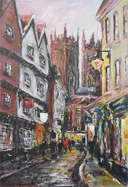 Ewen Macaulay, Original acrylic painting on canvas, Low Petergate at Dusk
