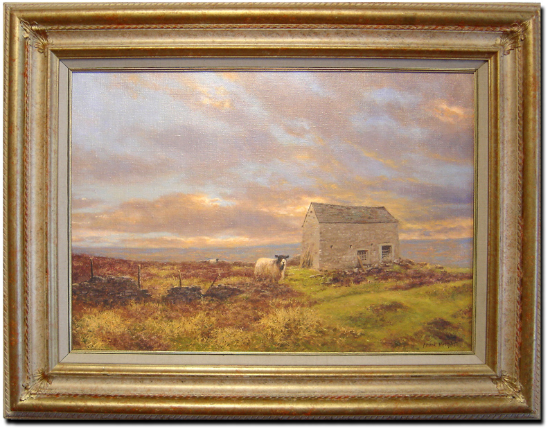 Frank Wright, Original oil painting on canvas, Moors and Sheep. Click to enlarge