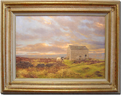 Frank Wright, Original oil painting on canvas, Moors and Sheep Without frame image. Click to enlarge
