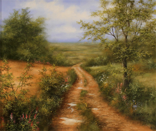 George Atkinson, Original oil painting on panel, Path of Garrowby Hill, Vale of York No frame image. Click to enlarge