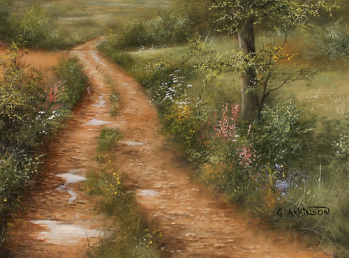 George Atkinson, Original oil painting on panel, Path of Garrowby Hill, Vale of York Signature image. Click to enlarge