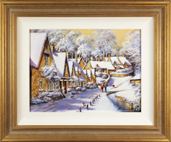 Gordon Lees, Original oil painting on panel, Winter on Arlington Row, The Cotswolds