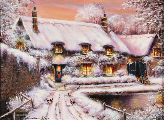 Gordon Lees, Original oil painting on canvas, A Snowy Thornton le Dale