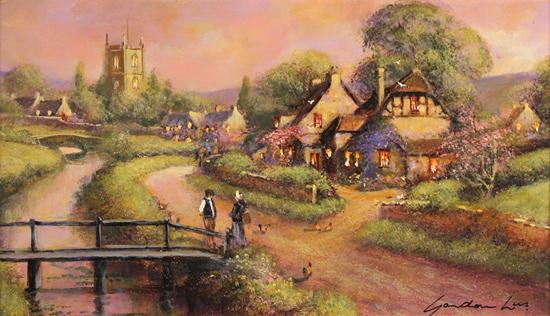 Gordon Lees, Original oil painting on panel, Cotswolds Village at Dusk