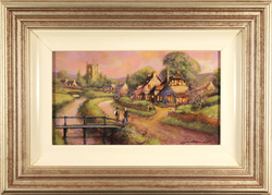 Gordon Lees, Original oil painting on panel, Cotswolds Village at Dusk