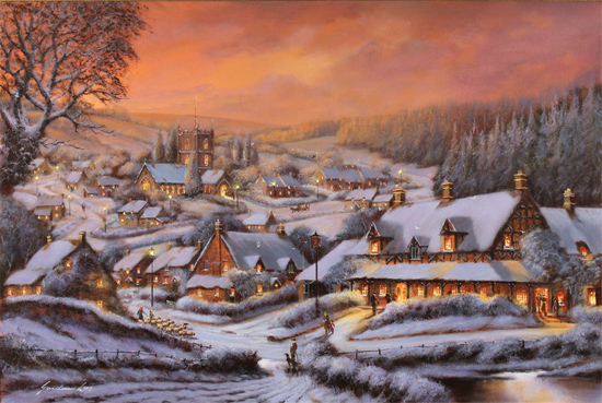 Gordon Lees, Original oil painting on canvas, Snowy Hamlet, The Cotswolds