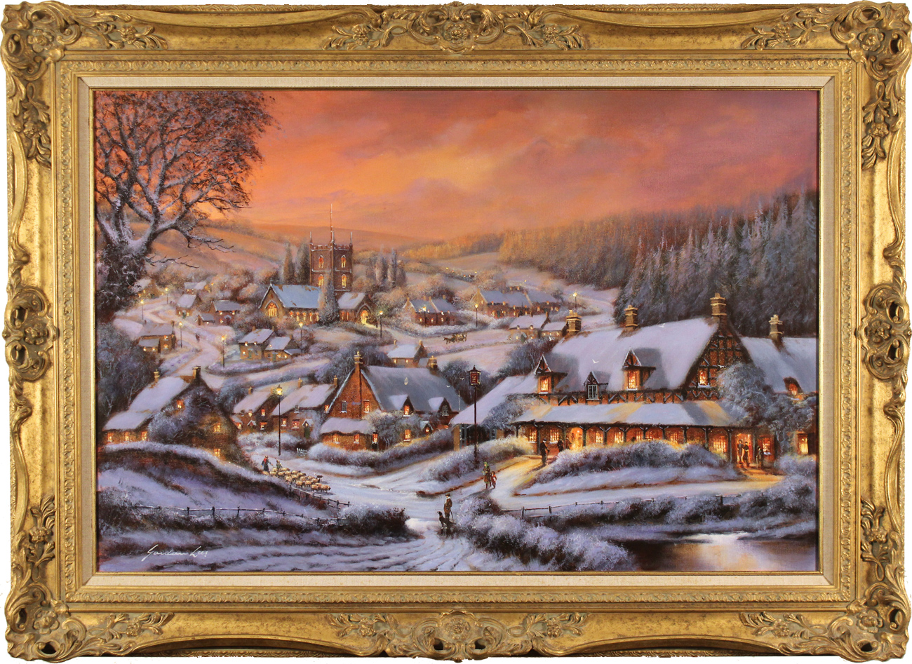 Gordon Lees, Original oil painting on canvas, Snowy Hamlet, The Cotswolds, click to enlarge