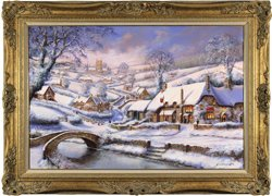 Gordon Lees, Original oil painting on canvas, Heavy Snowfall at the Bridge Inn