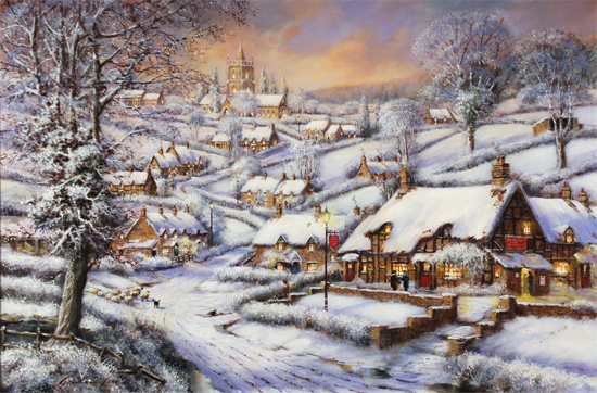 Gordon Lees, Original oil painting on canvas, A Snowy Evening at the Crossways Inn Without frame image. Click to enlarge