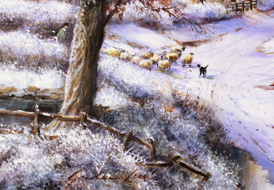 Gordon Lees, Original oil painting on canvas, A Snowy Evening at the Crossways Inn Signature image. Click to enlarge