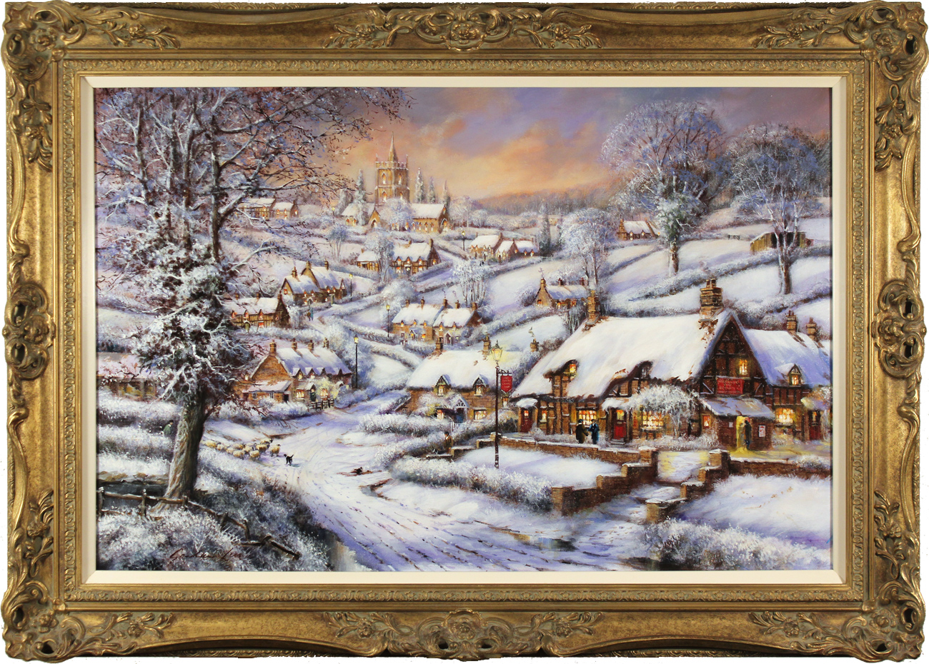 Gordon Lees, Original oil painting on canvas, A Snowy Evening at the Crossways Inn. Click to enlarge