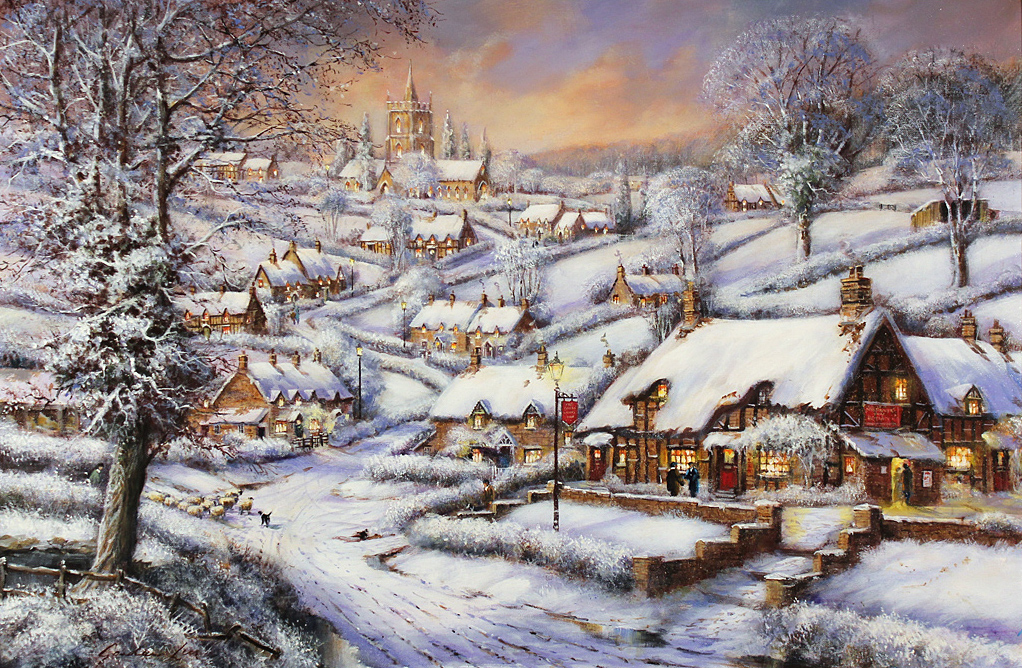 Gordon Lees, Signed limited edition print, A Snowy Evening at the Crossways Inn, click to enlarge