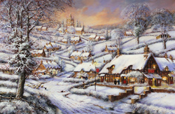 Gordon Lees, Signed limited edition print, A Snowy Evening at the Crossways Inn
