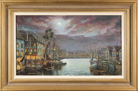 Gordon Lees, Original oil painting on canvas, Harbour Lights, Whitby