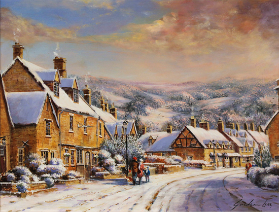 Gordon Lees, Original oil painting on panel, A Snowy Broadway, The Cotswolds No frame image. Click to enlarge