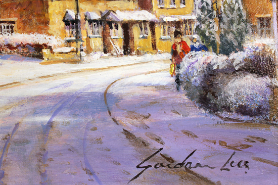 Gordon Lees, Original oil painting on panel, A Snowy Broadway, The Cotswolds Signature image. Click to enlarge