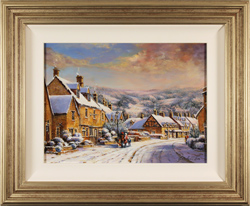 Gordon Lees, A Snowy Broadway, The Cotswolds, Original oil painting on panel