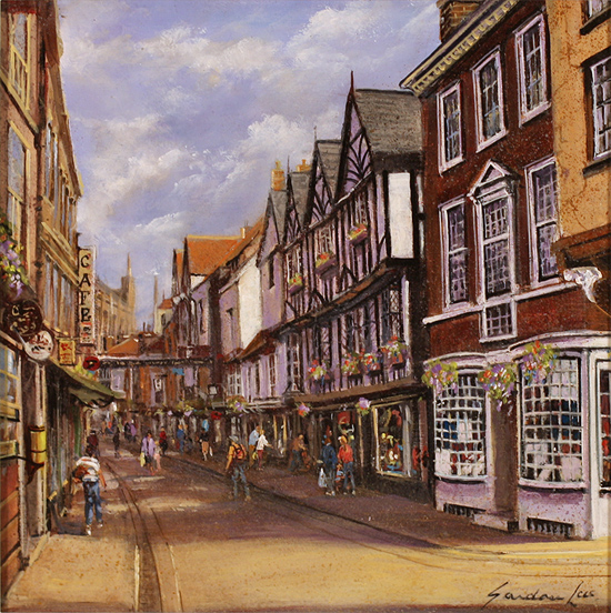 Gordon Lees, Original oil painting on panel, Stonegate, York Without frame image. Click to enlarge