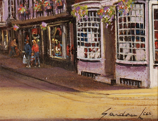 Gordon Lees, Original oil painting on panel, Stonegate, York Signature image. Click to enlarge