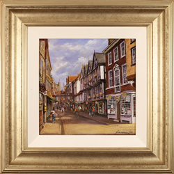 Gordon Lees, Original oil painting on panel, Stonegate, York Large image. Click to enlarge