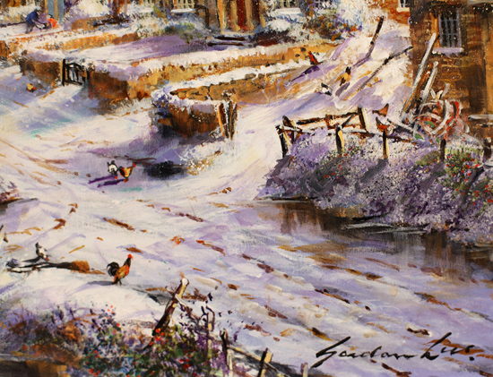 Gordon Lees, Original oil painting on panel, Winter Morning, The Cotswolds Signature image. Click to enlarge