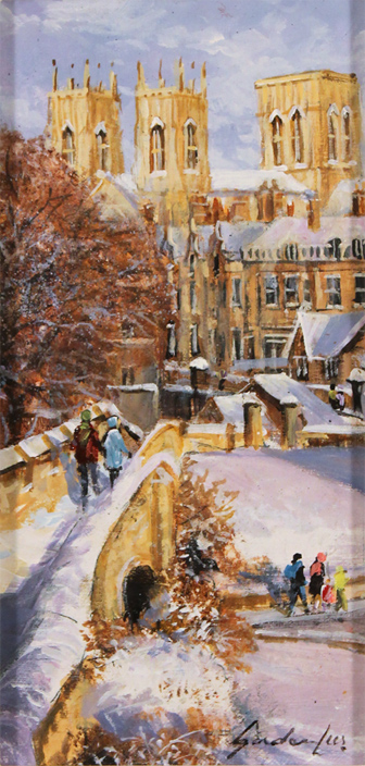 Gordon Lees, Original oil painting on panel, The City Walls, York