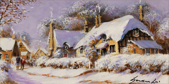 Gordon Lees, Original oil painting on panel, Winter down the Lane
