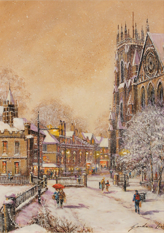 Gordon Lees, Original oil painting on panel, A Snowy York