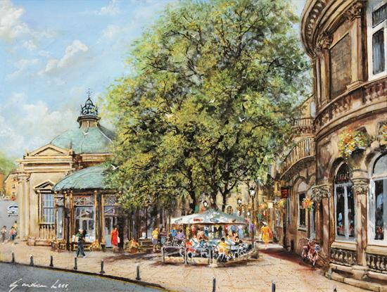 Gordon Lees, Original oil painting on panel, Café Days, Harrogate