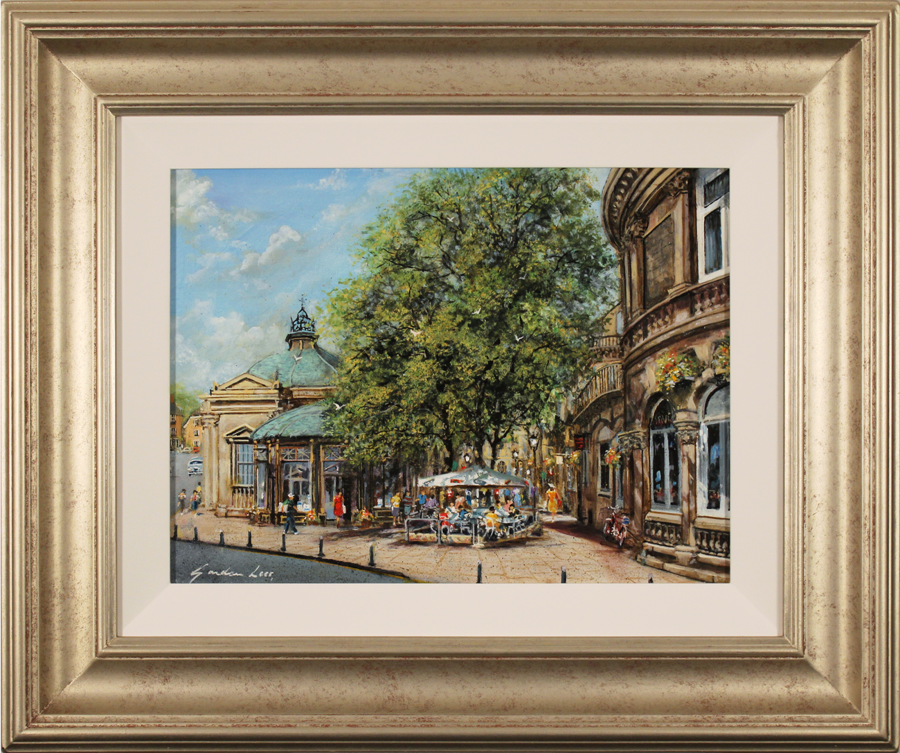 Gordon Lees, Original oil painting on panel, Café Days, Harrogate, click to enlarge