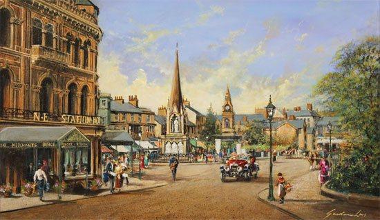 Gordon Lees, Original oil painting on panel, Old Station Square, Harrogate